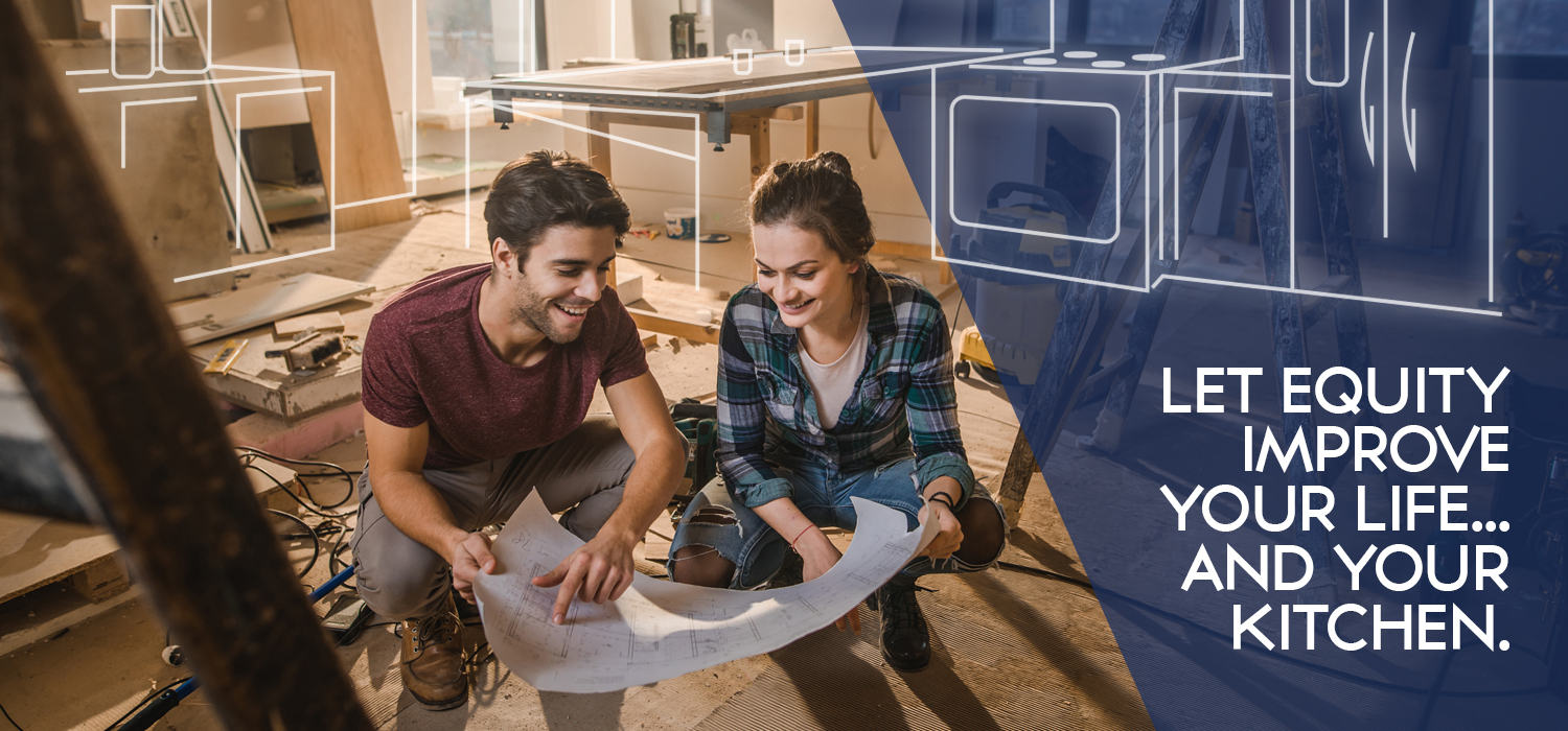 "home equity loan banner with a man and a woman looking at a blue print. the banner reads ""let equity improve your life... and your kitchen"""
