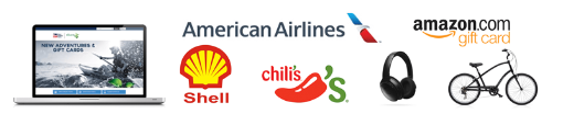 images of a laptop, shell gas logo, chili's logo, american airlines logo, headphones, amazon logo, and a bicycle