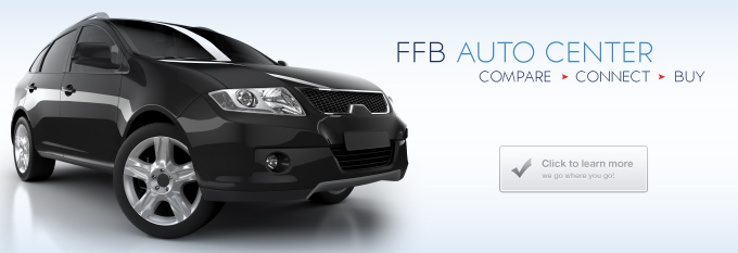 "banner with black suv for FFB Auto Center ""compare, connect, buy"" and a click to learn more icon"