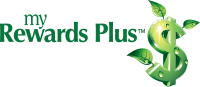 my rewards plus logo, a dollar sign with leaves growing out of it.
