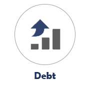 Debt Icon with a Rising Bar Graph Image