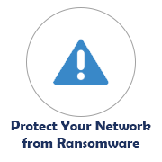 Protect Your Network from Ransomware icon with warning symbol image