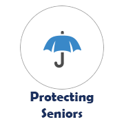 Protecting Seniors icon with umbrella image