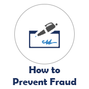 How to Prevent Fraud icon with checkbook image